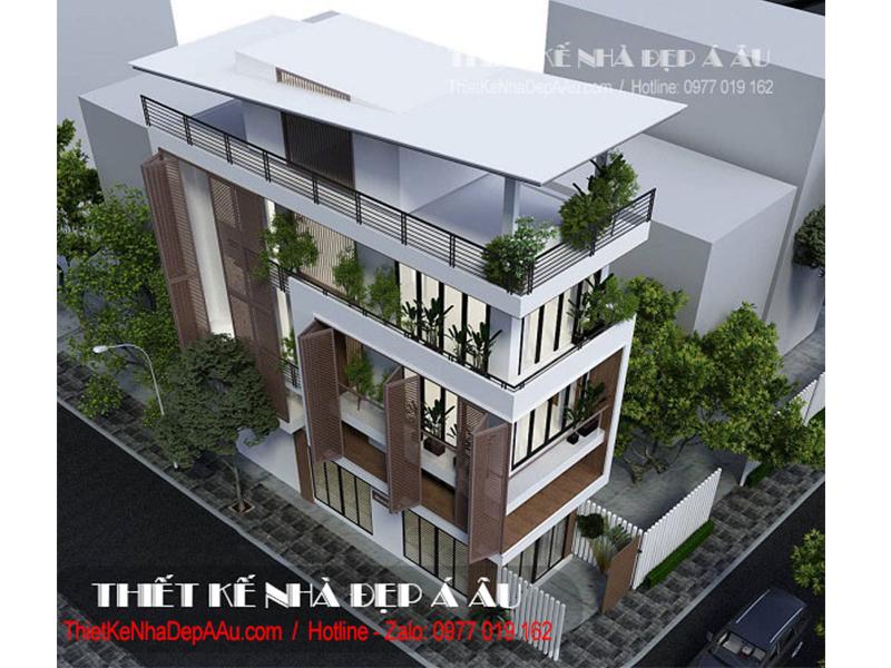 Bản vẽ nhà phố 3 tầng 2 mặt tiền