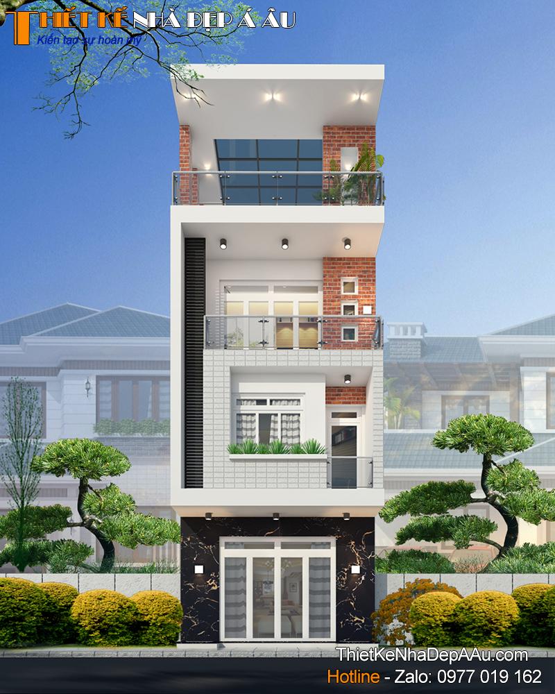Mẫu nhà phố 3 tầng 1 tum mặt tiền 5m