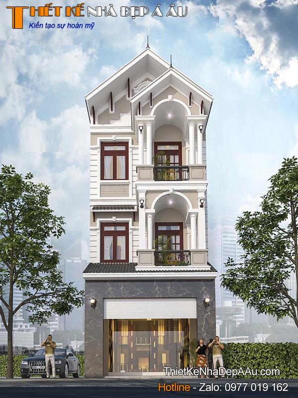 Phương án thiết kế nhà phố hiện đại 3 tầng mặt tiền 5m