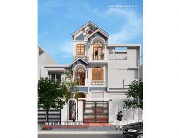 Bản vẽ nhà phố đẹp hiện đại có mặt tiền 5m