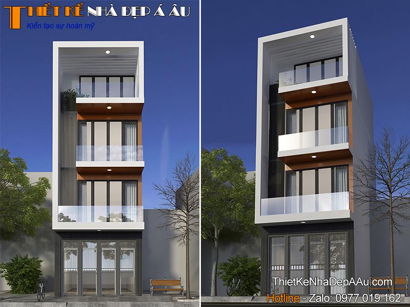 Bản vẽ 3d mẫu nhà phố 4 tầng mặt tiền 5m