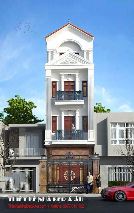 Những mẫu nhà phố 4 tầng tân cổ điển
