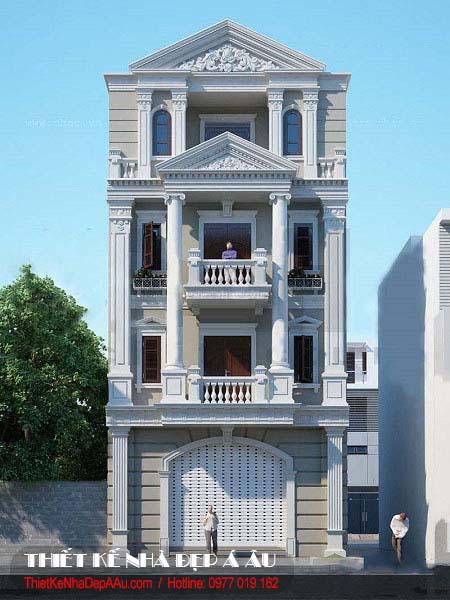 Bản vẽ phối cảnh nhà phố 4 tầng tân cổ điển đẹp