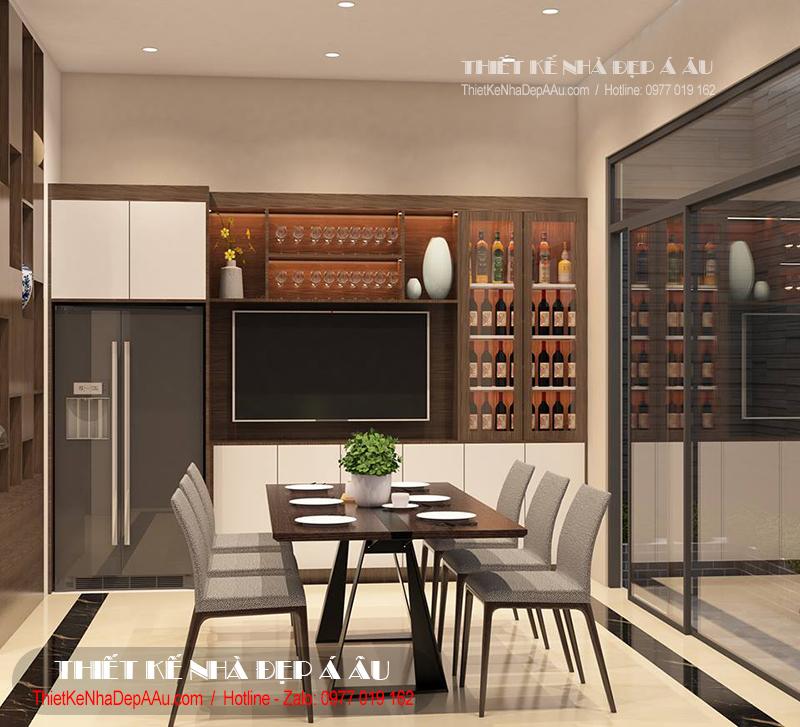 Trang trí nội thất phòng ăn cho căn nhà phố 3 tầng 1 tum mặt tiền 3m
