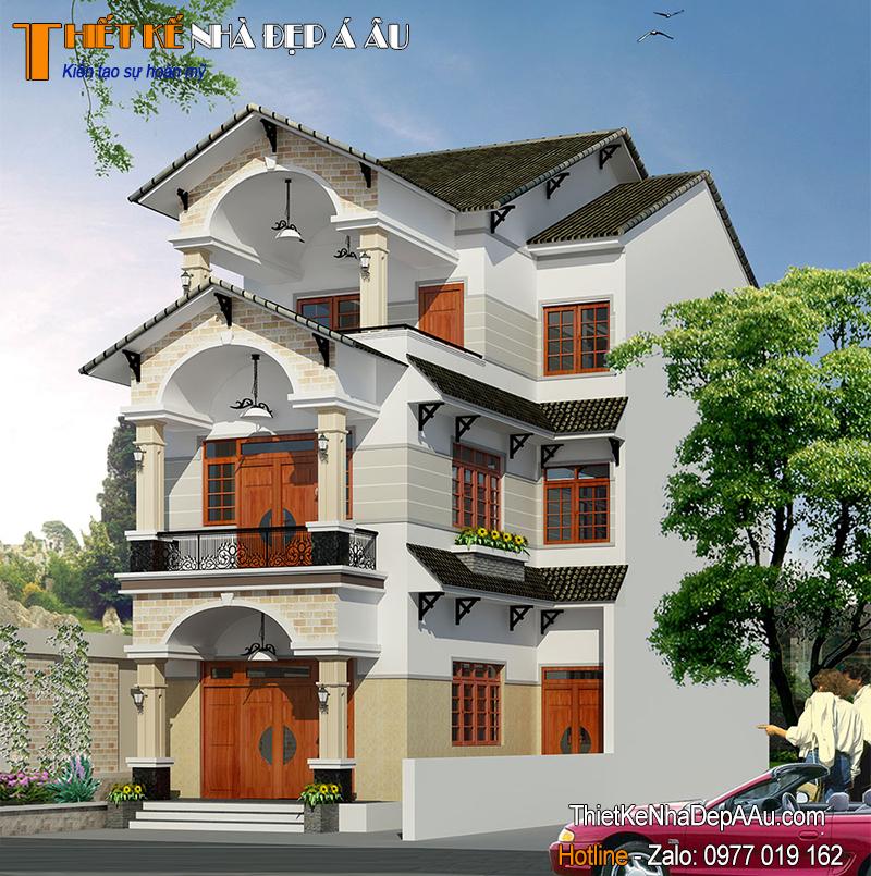 Mẫu thiết kế nhà 3 tầng chữ L mặt tiền 7m