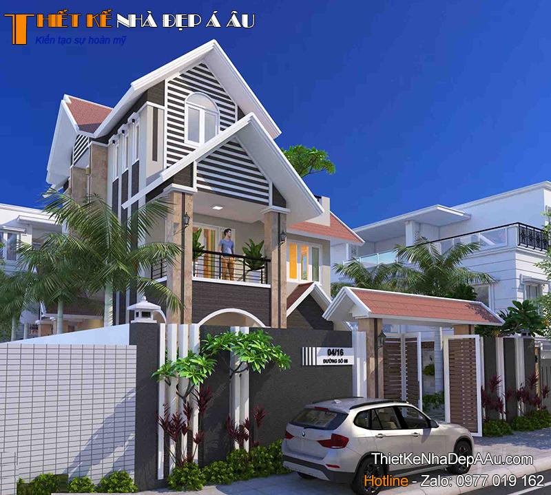 Mẫu thiết kế nhà 3 tầng mái thái 4 phòng ngủ