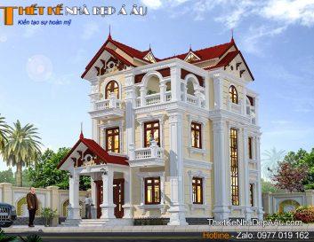 Thiết kế biệt thự 3 tầng tân cổ điển mặt tiền 7m