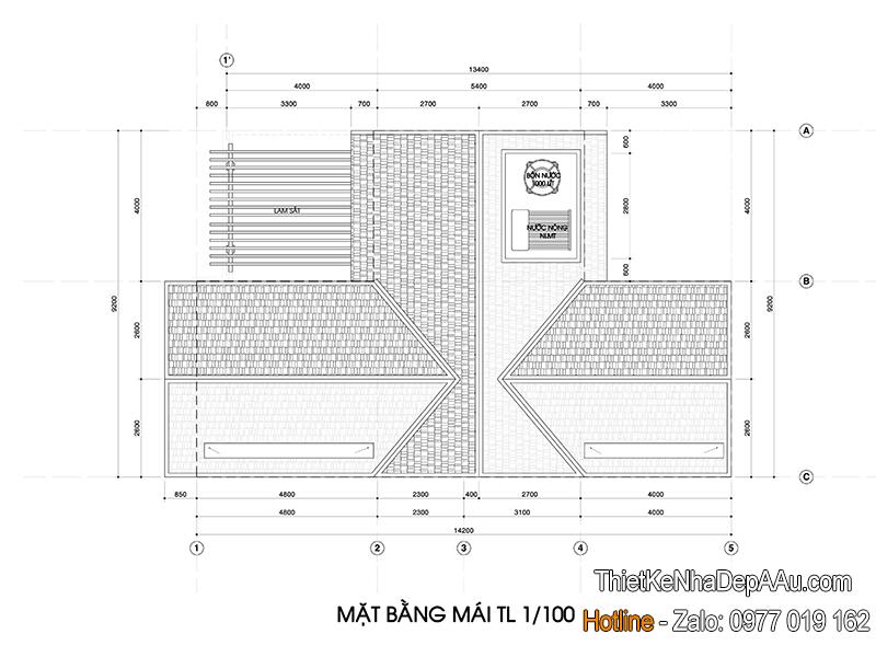 mặt bằng mái biệt thự phố mặt tiền 9m 3 tầng