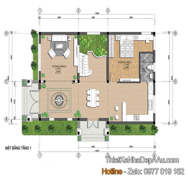 Hình ảnh bản vẽ mặt bằng nhà 2 tầng mặt tiền 8m
