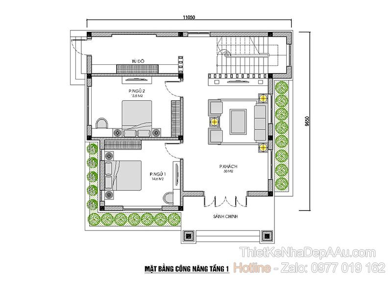 mặt bằng tầng 1 biệt thự 2 tầng mái thái 5 phòng ngủ