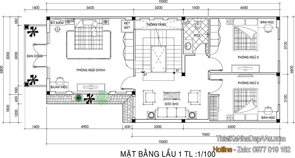cách bố trí công năng mặt bằng tầng 2 cho căn biệt thự 3 tầng chữ L mặt tiền 7m