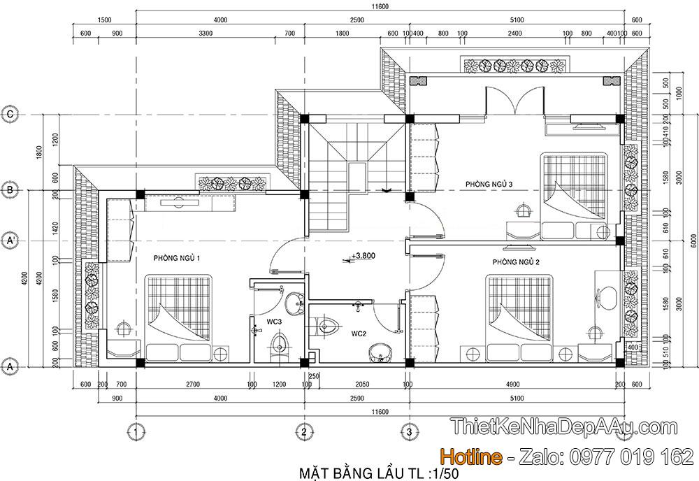 Thiết kế ln phương án bố trí công năng tầng 2