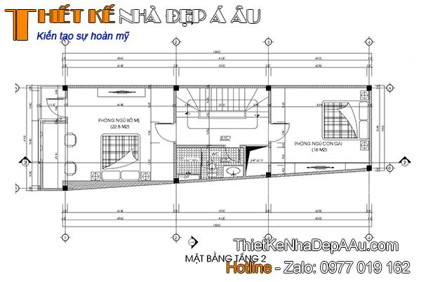mặt bằng tầng 2 nhà phố 3 tầng hiện đại 90m2