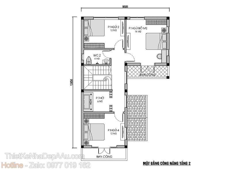 mặt bằng tầng 2 nhà biệt thự 2 tầng 4 phòng ngủ