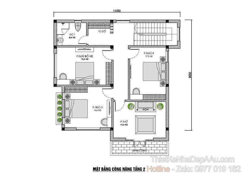 mặt bằng tầng 2 biệt thự 2 tầng mái thái 5 phòng ngủ
