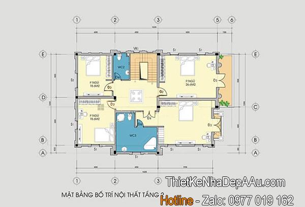 Cách bố trí công năng cho mặt bằng tầng 2 mẫu biệt thự 3 tầng mái thái