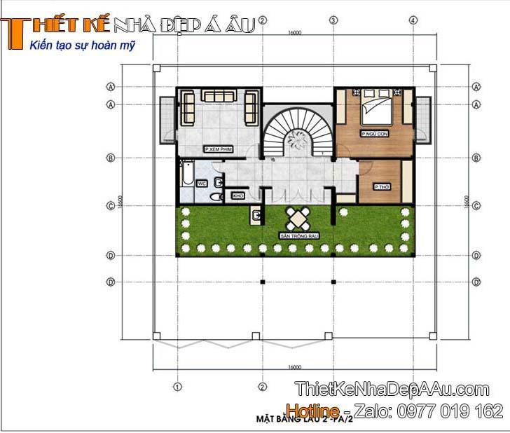 Hình ảnh mặt bằng tầng 3 của căn biệt thứ phố 3 tầng