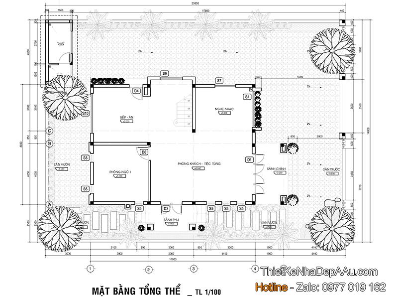 Mặt bằng căn biệt thự 3 tầng 4 phòng ngủ