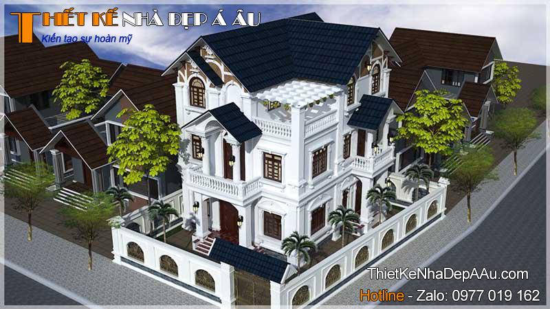 tổng quan mẫu biệt thự 3 tầng tân cổ điển mặt tiền 12m