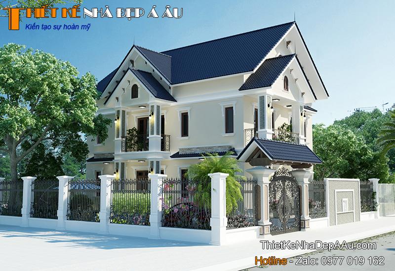 Thiết kế nhà 2 tầng 1 tum mái thái