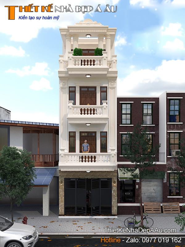 Hình ảnh mẫu nhà phố tân cổ điển 4 tầng mặt tiền 5m