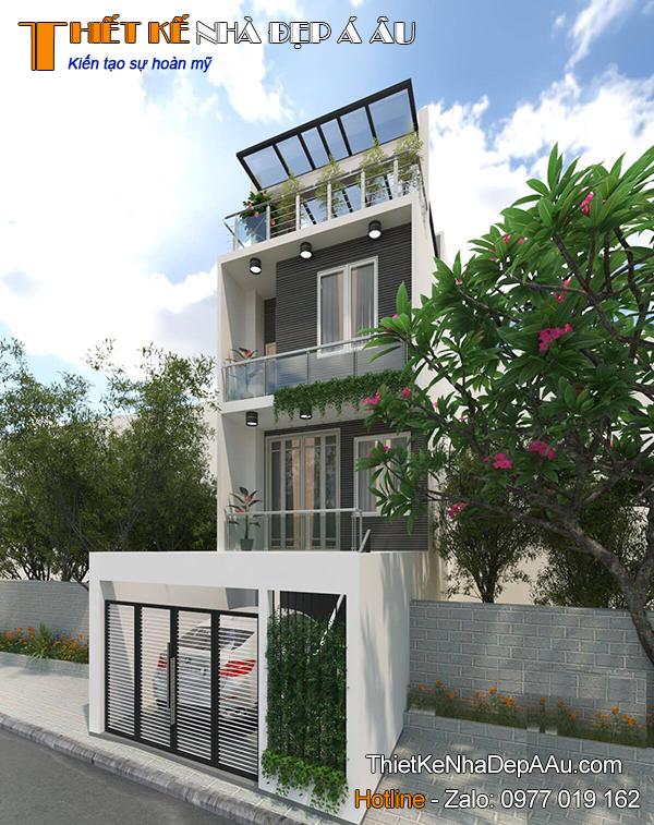 Mẫu thiết kế nhà phố 3 tầng 1 tum mặt tiền 6m
