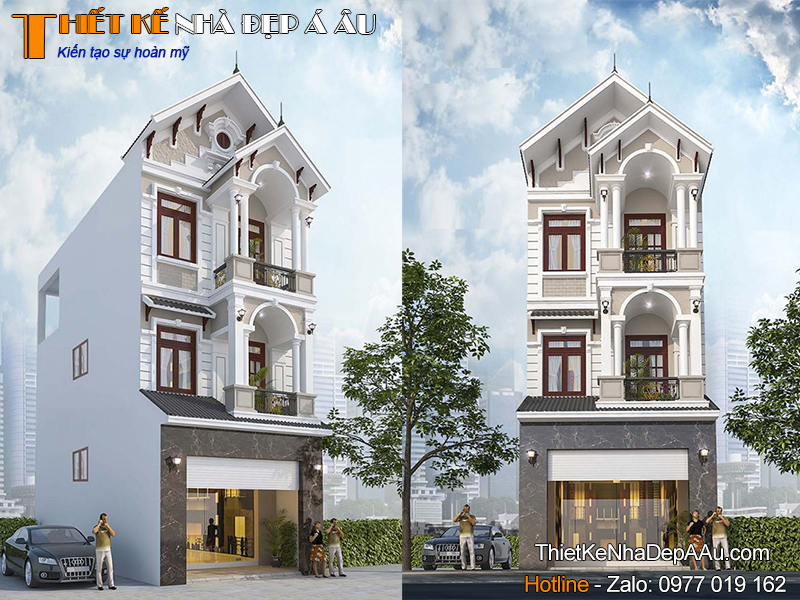 Lên phương án thiết kế nhà phố 3 tầng mái thái mặt tiền 5m
