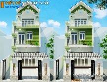 Bản vẽ phối cảnh nhà phố 3 tầng chữ L mặt tiền 6m