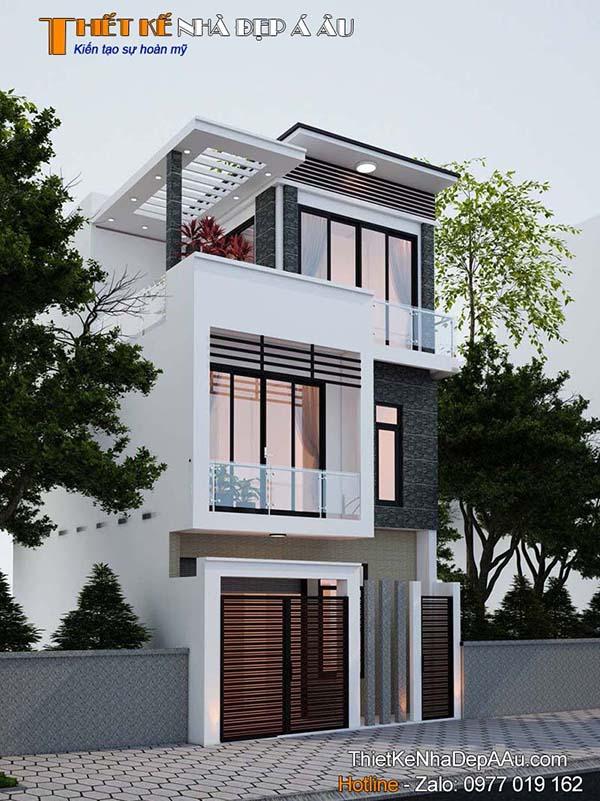 Thiết kế nhà phố 3 tầng 4 phòng ngủ