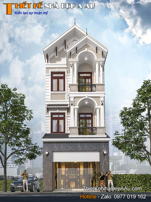 Phuwohng án thiết kế nhà phố 3 tầng mái thái măt tiền 5m