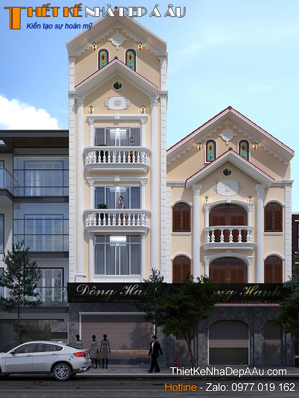 Bản vẽ phối cảnh nhà phố 4 tầng 1 tum 7x13m