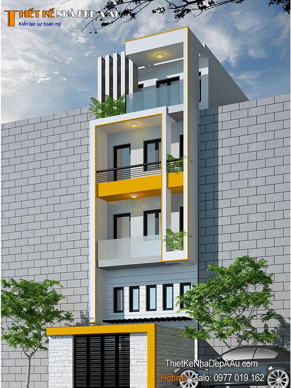 Lên phương án thiết kế nhà phố 4 tầng 1 tum đẹp