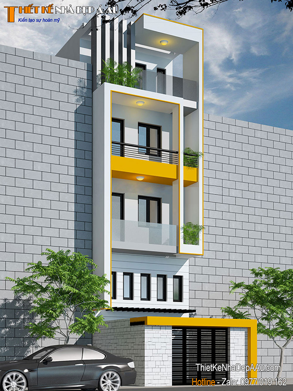 thiết kế nhà phố 4 tầng 1 tum 60m2