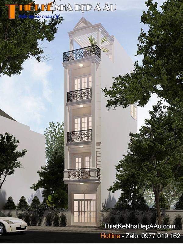 Phương án thiết kế nhà phố 5 tầng 3x11