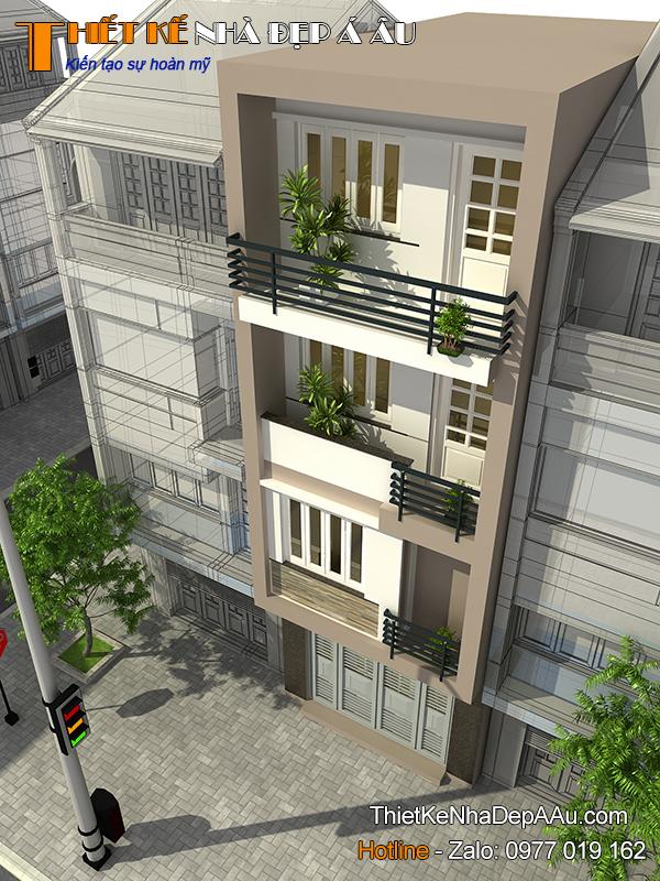 Nhà 4 tầng hiện đại mặt tiền 5m