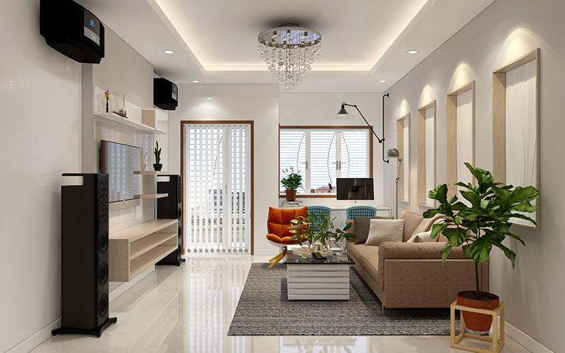 trang trí nội thất nhà phố 3 tầng 1 tum mặt tiền 6m