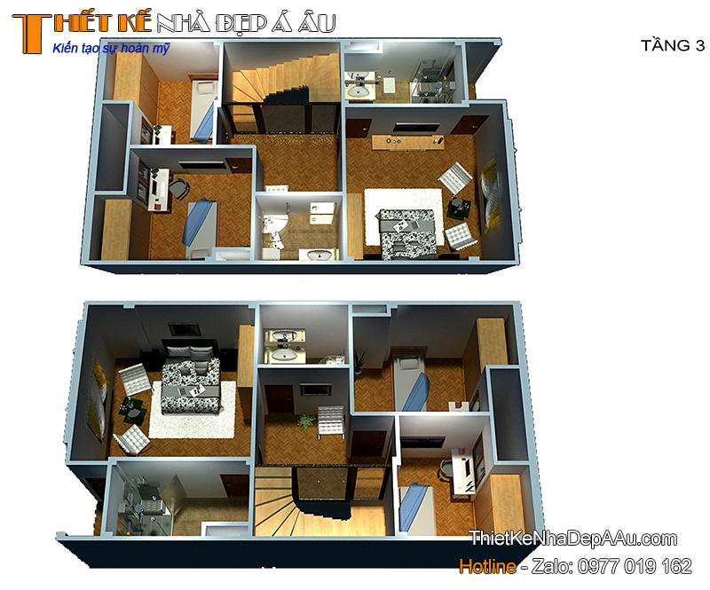 Hình ảnh mặt bằng 3d tầng 3