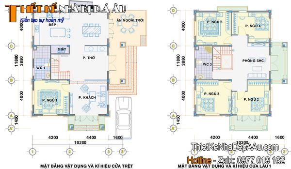 Chi tiết bản vẽ thiết kế căn biệt thự 2 tầng mặt tiền 7m