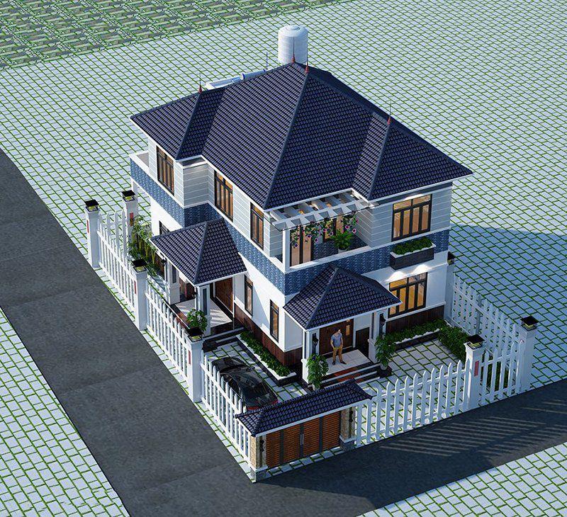 thiết kế biệt thự 2 tầng mái nhật 4 phòng ngủ