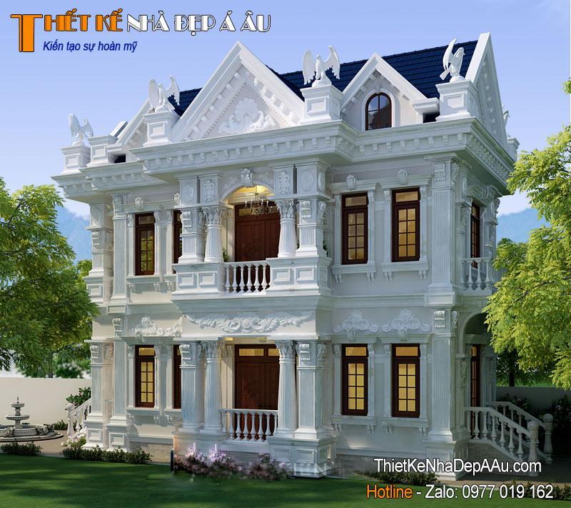 Phối cảnh tổng thể của ngôi biệt thự tân cổ điển mặt tiền 6m