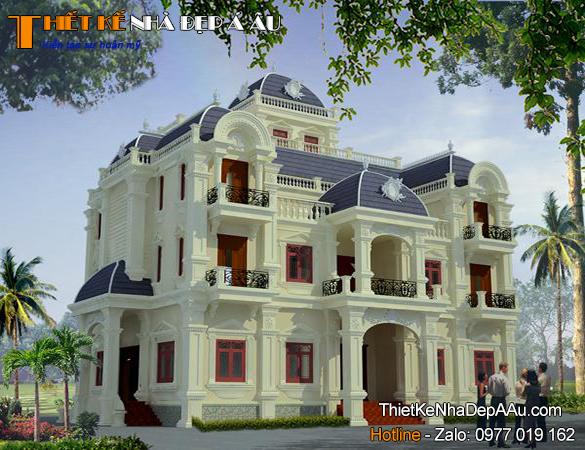 Bản vẽ thiết kế mẫu biệt thự 3 tầng tân cổ điển