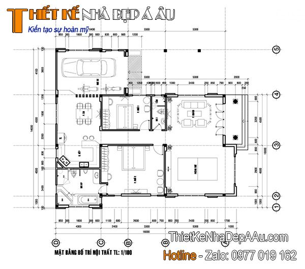 Chi tiết cách bố trí công năng mẫu nhà cấp 4 mái thái mặt tiền 10m