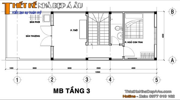 Bản vẽ nhà phố mặt tiền 4m