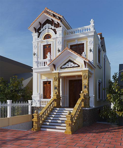 Bản vẽ thiết kế nhà 2 tầng tân cổ điển đẹp mặt tiền 7m