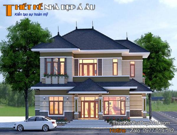 Hình ảnh mẫu nhà 2 tầng mặt tiền 10m