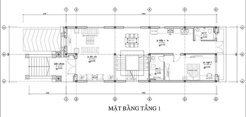 Bản vẽ mặt bằng nhà 2 tầng mặt tiền 7m