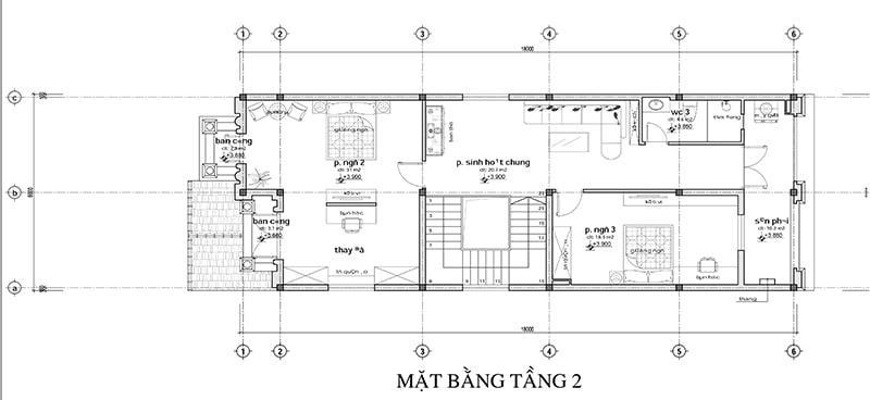 Phương án mặt bằng nhà 2 tầng có tầng hầm