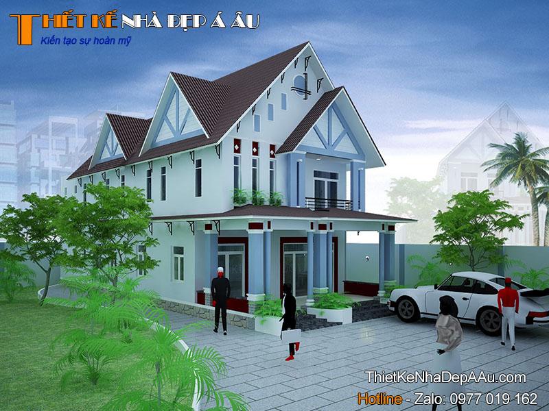 nhà 2 tầng mái thái mặt tiền 9m