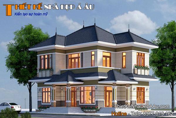 Thiết kế nhà 2 tầng mặt tiền 10