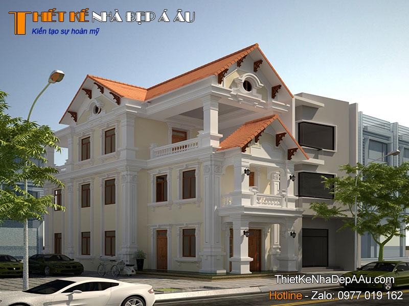 Mẫu nhà 3 tầng mái thái mặt tiền 8m
